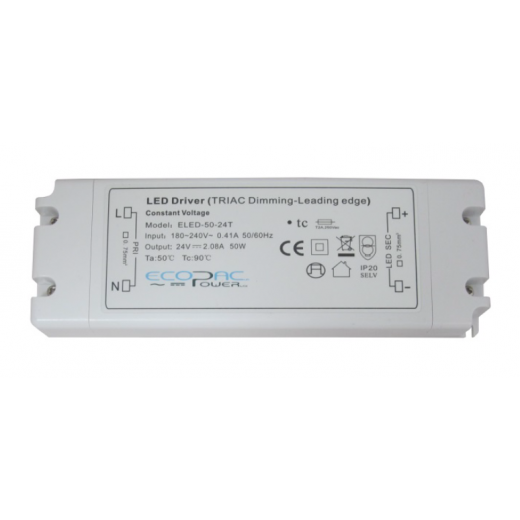 Ecopac Power ECOPAC LED ELED50-12T Series 50 Watt Triac Dimmable Driver